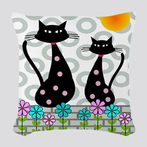 Whimsical Cats 4 Woven Throw Pillow