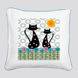 Whimsical Cats 4 Square Canvas Pillow