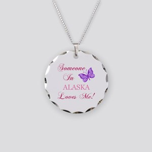 Alaska State (Butterfly) Necklace Circle Charm