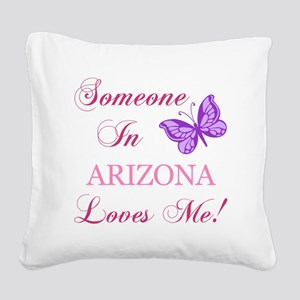 Arizona State (Butterfly) Square Canvas Pillow