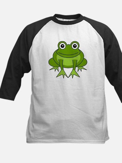 Cute Happy Green Frog Cartoon Kids Baseball Jersey