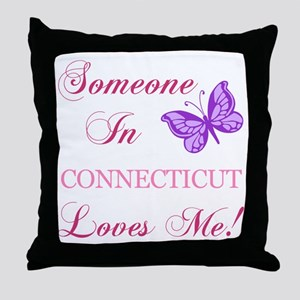 Connecticut State (Butterfly) Throw Pillow