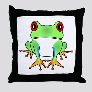 Cute Tree Frog Cartoon Throw Pillow