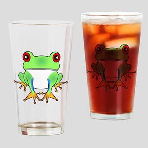 Cute Tree Frog Cartoon Drinking Glass