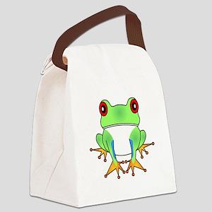 Cute Tree Frog Cartoon Canvas Lunch Bag