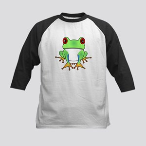 Cute Tree Frog Cartoon Kids Baseball Jersey