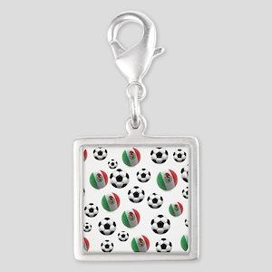 Mexican soccer balls Silver Square Charm