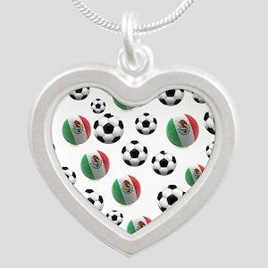 Mexican soccer balls Silver Heart Necklace