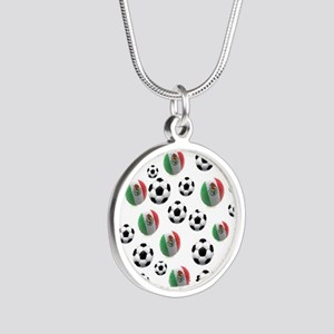 Mexican soccer balls Silver Round Necklace