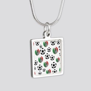Mexican soccer balls Silver Square Necklace