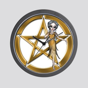 Gold Wiccan Pentacle n Wiccan Girl Wall Clock