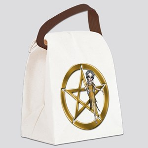 Gold Wiccan Pentacle n Wiccan Girl Canvas Lunch Ba