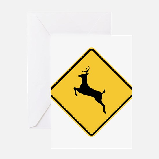 Deer Crossing Sign Greeting Cards