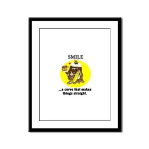 SMILE CARTOON QUOTE Framed Panel Print