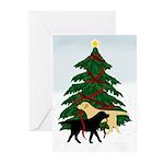 Yellow & Black Labs Trim Tree Christmas Cards