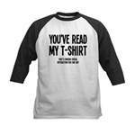 You've Read My T-Shirt Funny Kids Baseball Jersey