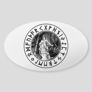 Freya Rune Shield Sticker (Oval)