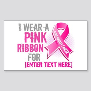Personalized Breast Cancer Custom Sticker (Rectang