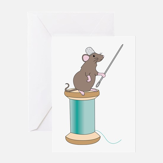 Mouse Sewing Greeting Cards