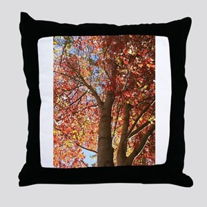 Ruby Leaves Throw Pillow