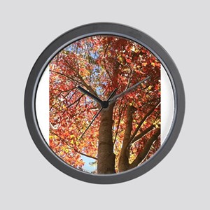 Ruby Leaves Wall Clock