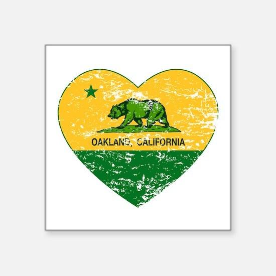 Oakland California green and yellow heart Sticker
