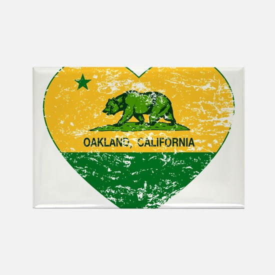 Oakland California green and yellow heart Magnets