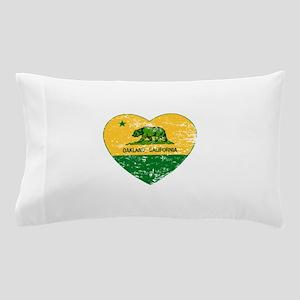 Oakland California green and yellow heart Pillow C