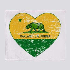Oakland California green and yellow heart Throw Bl