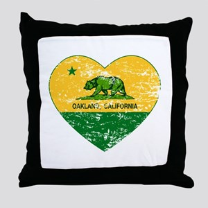 Oakland California green and yellow heart Throw Pi