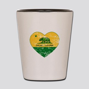 Oakland California green and yellow heart Shot Gla