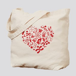 Big heart with science doodles Tote Bag