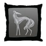 Art Deco Borzoi Silhouette Throw Pillow