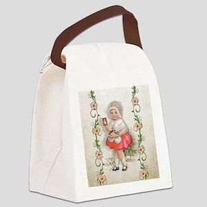 Born to Bake Vintage Girl Canvas Lunch Bag