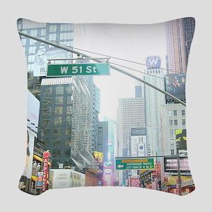 W 51 St New York Woven Throw Pillow