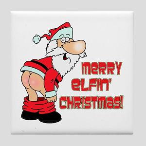Merry Elfin' Christmas Tile Coaster