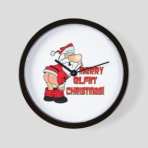 Merry Elfin' Christmas Wall Clock
