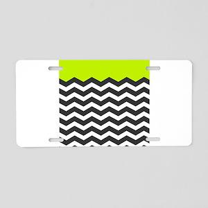 Lime Green Black and white chevron Aluminum Licens