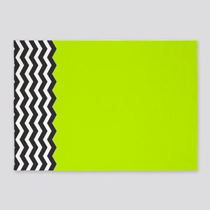 Lime Green Black and white chevron 5'x7'Area Rug