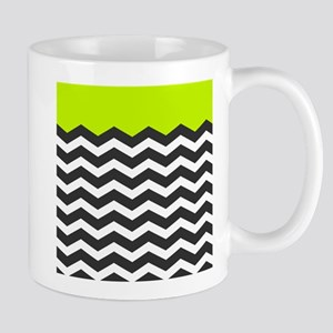 Lime Green Black and white chevron Mugs