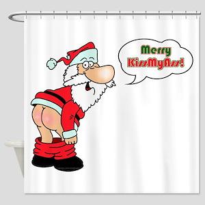 Merry KissMyAss Shower Curtain