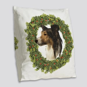 Happy Christmas Sheltie Burlap Throw Pillow