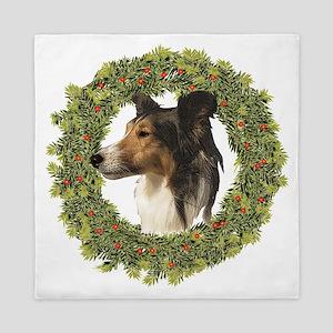 Happy Christmas Sheltie Queen Duvet