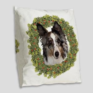 Xmas Shetland Sheepdog Burlap Throw Pillow