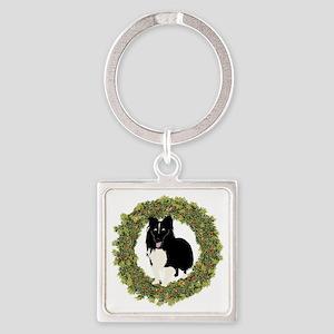 Shelties Love Christmas Square Keychain
