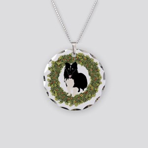 Shelties Love Christmas Necklace Circle Charm