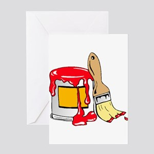 Paint Brush and Can Greeting Cards