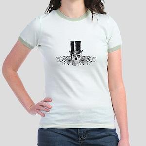 B&W Vintage Tophat Skull Jr. Ringer T-Shirt