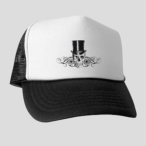 B&W Vintage Tophat Skull Trucker Hat