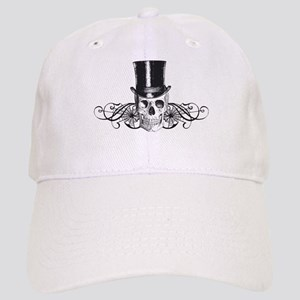 B&W Vintage Tophat Skull Cap